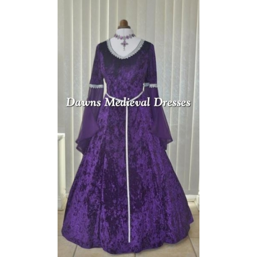 Medieval Pagan Wedding Dress Bridesmaid Purple & Silver V